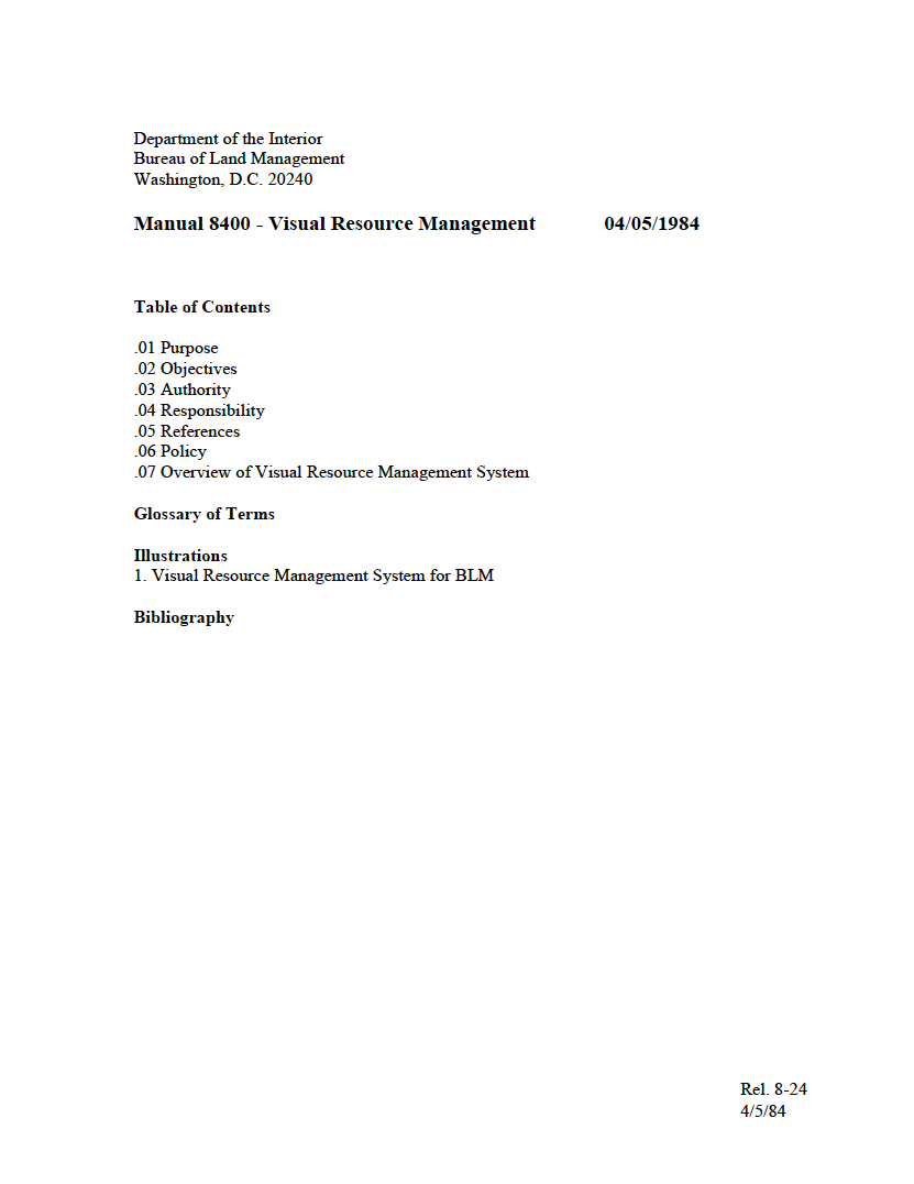 Thumbnail image of document cover: Manual 8400 - Visual Resource Management