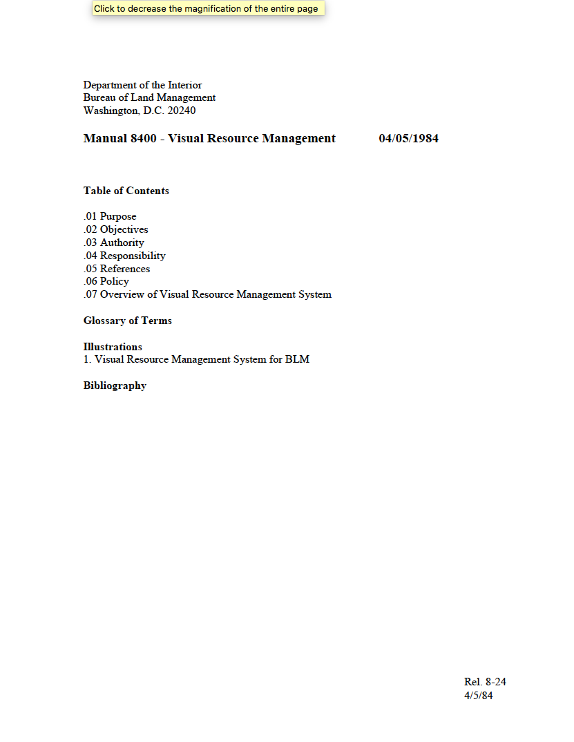 Thumbnail image of document cover: Manual H-8410-1 - Visual Resource Inventory