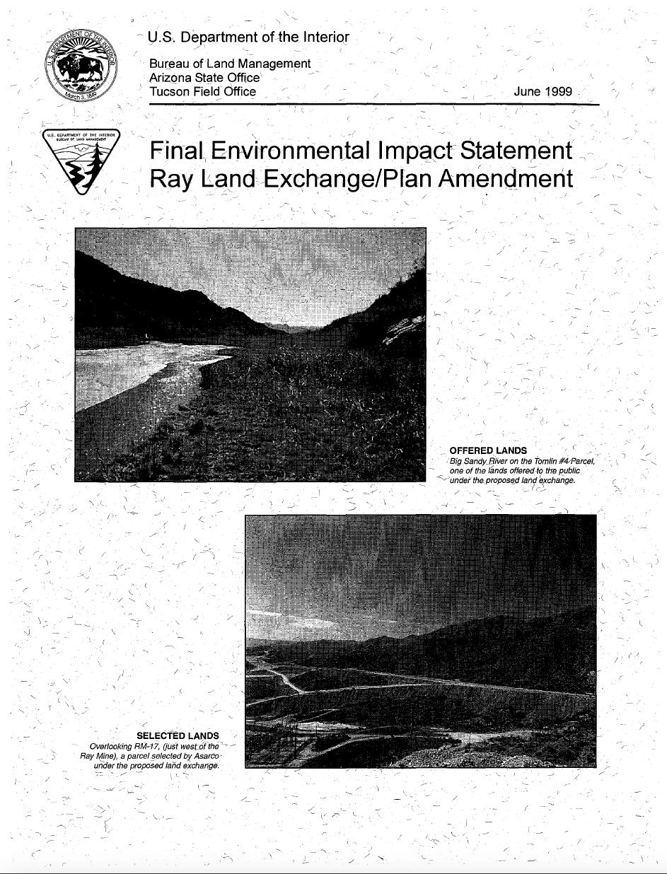 Thumbnail image of document cover: Final Environmental Impact Statement: Ray Land Exchange/Plan Amendment