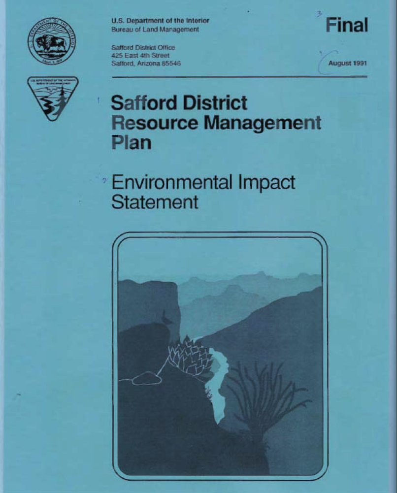 Thumbnail image of document cover: Safford District Resource Management Plan and Environmental Impact Statement