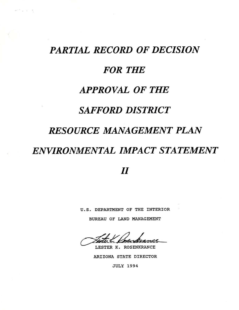 Thumbnail image of document cover: Partial Record of Decision for the Approval of the Safford District Resource Management Plan Environmental Impact Statement II