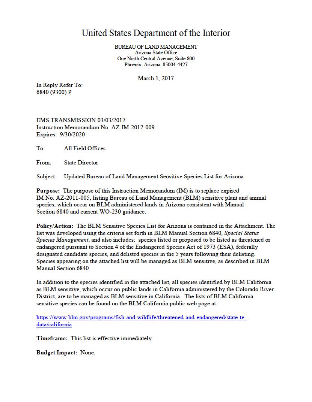 Thumbnail image of document cover: Updated Bureau of Land Management Sensitive Species List for Arizona