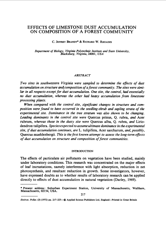 Thumbnail image of document cover: Effects of Limestone Dust Accumulation on Composition of a Forest Community
