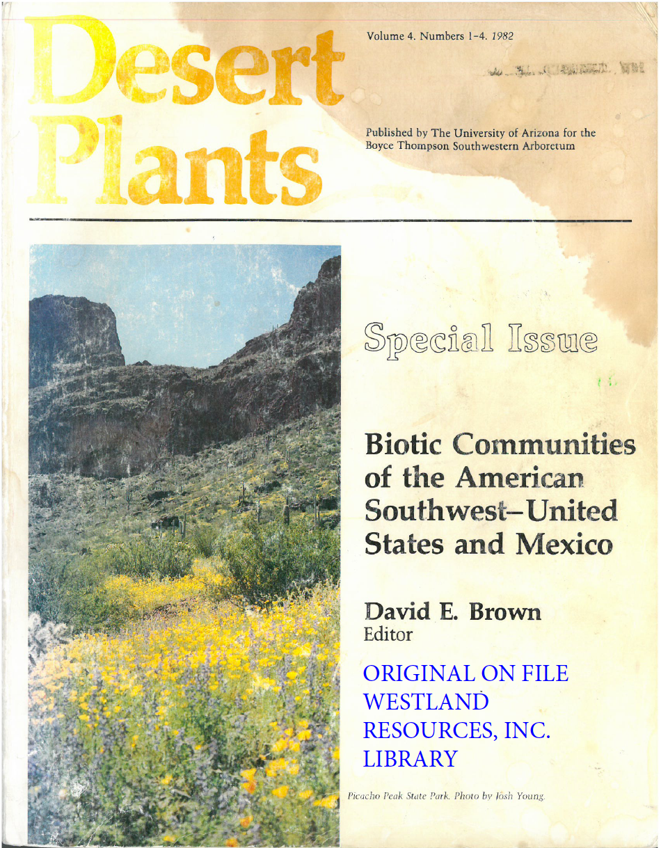 Thumbnail image of document cover: Biotic Communities of the American Southwest - United States and Mexico