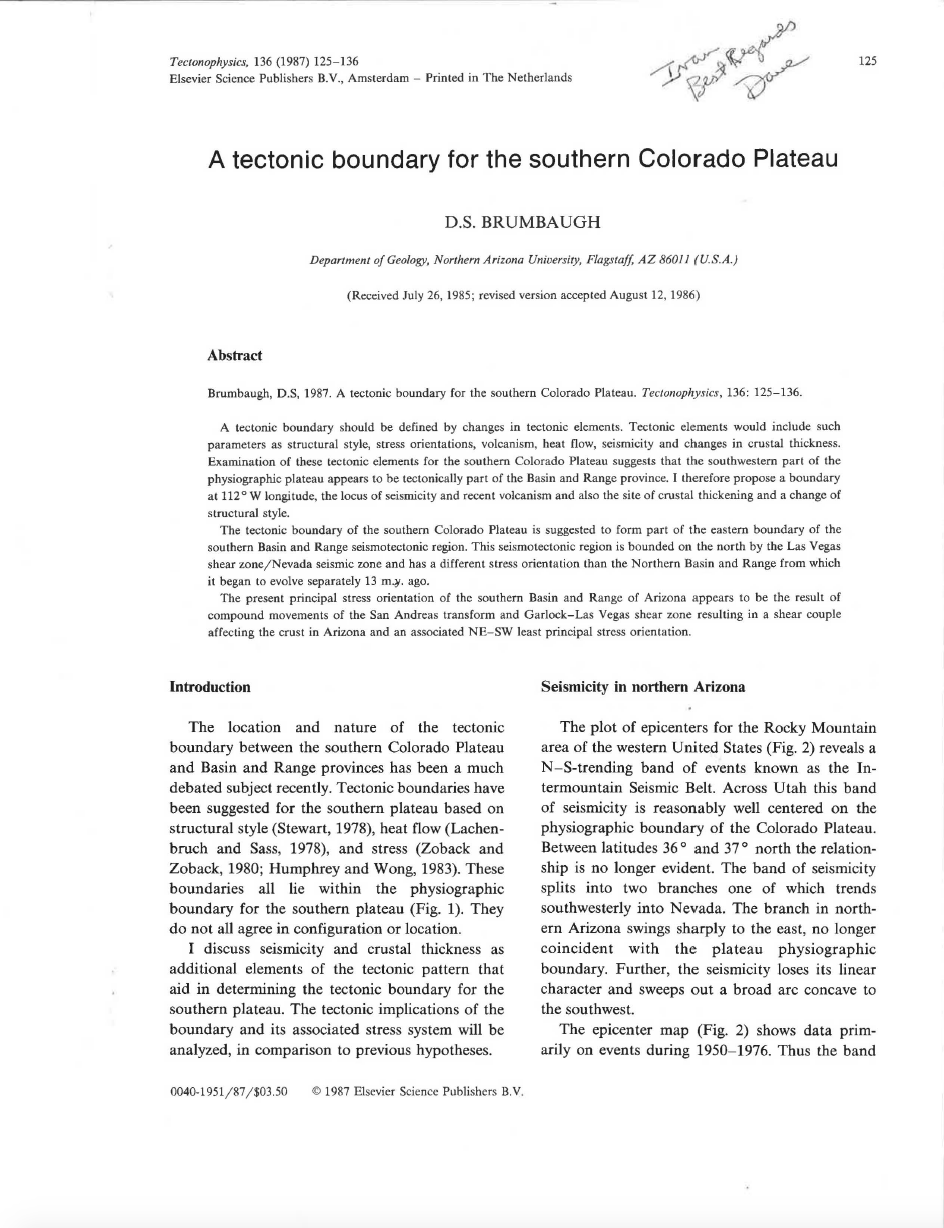 Thumbnail image of document cover: A Tectonic Boundary for the Southern Colorado Plateau