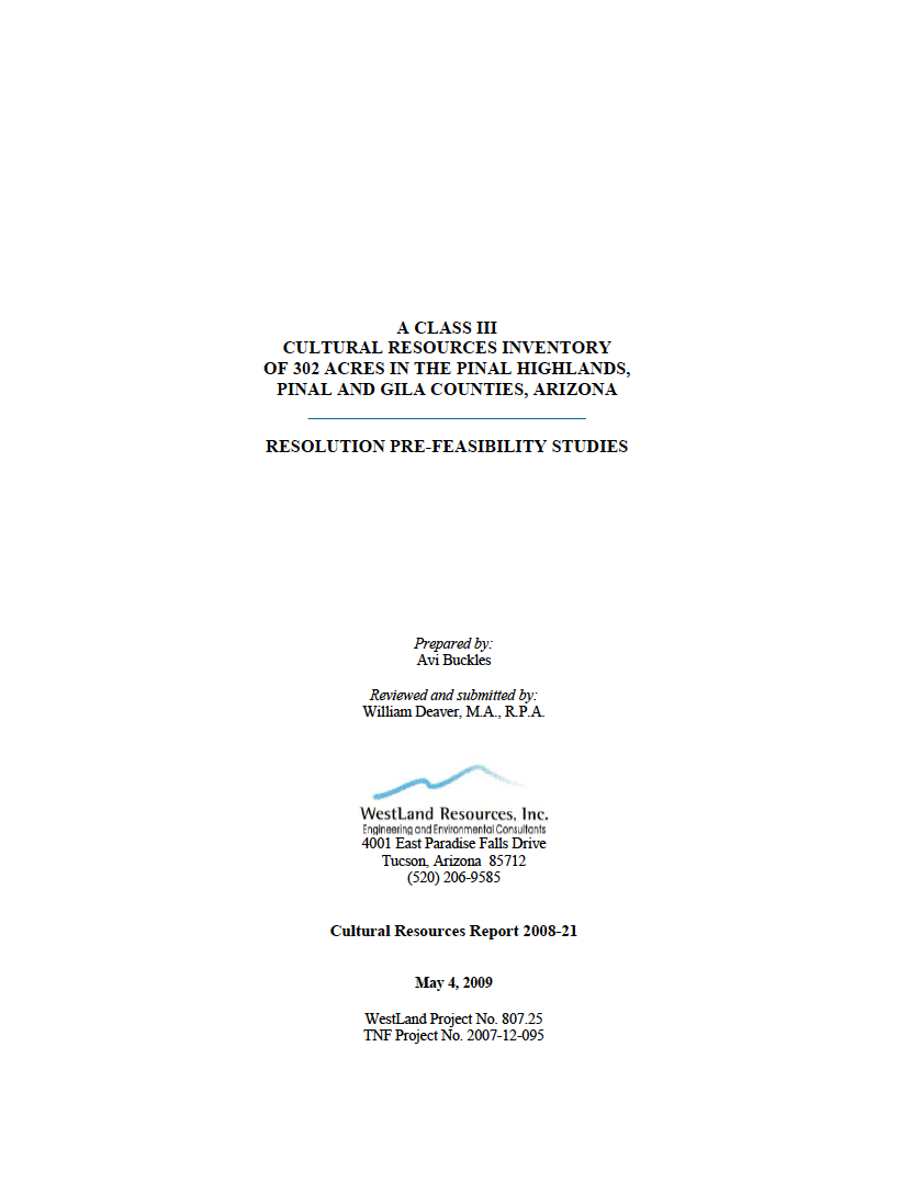 Thumbnail image of document cover: A Class III Cultural Resources Inventory of 302 Acres in the Pinal Highlands, Pinal and Gila Counties, Arizona: Resolution Pre-Feasibility Studies