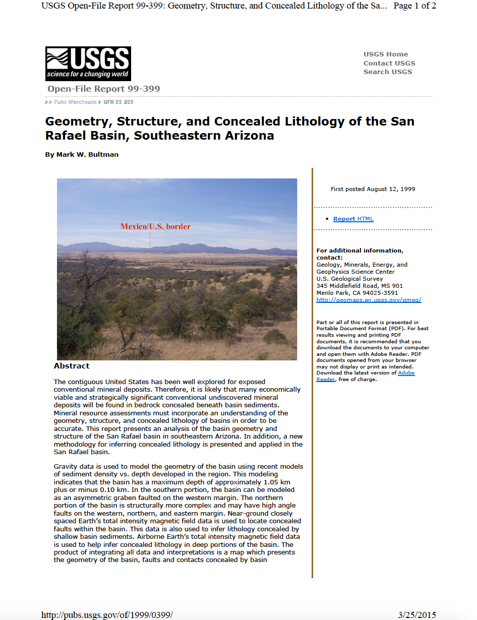 Thumbnail image of document cover: Geometry, Structure, and Concealed Lithology of the San Rafael Basin, Southeastern Arizona