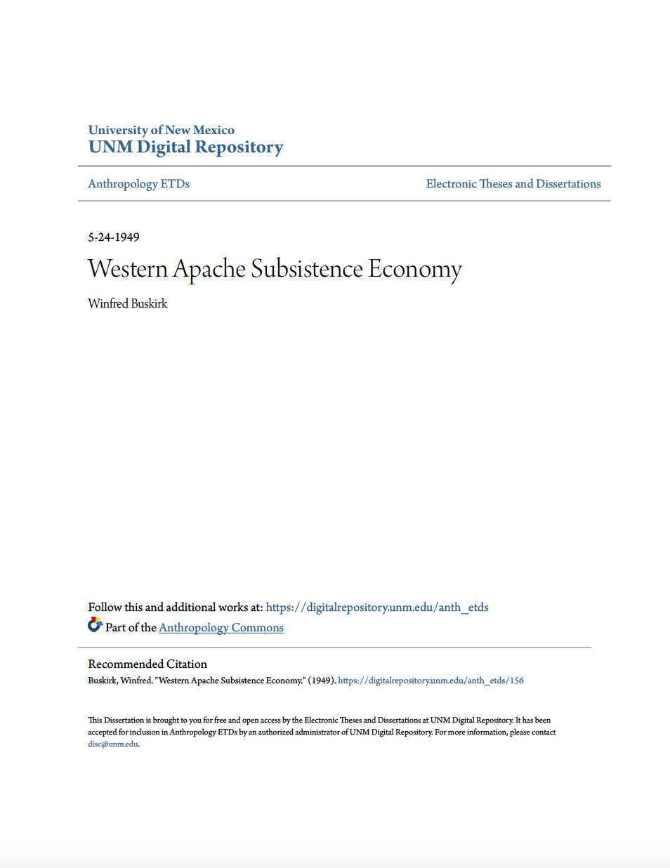 Thumbnail image of document cover: Western Apache Subsistence Economy