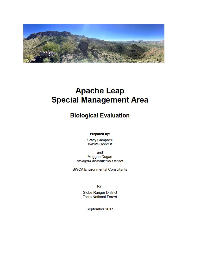 Thumbnail image of document cover: Apache Leap Special Management Area: Biological Evaluation