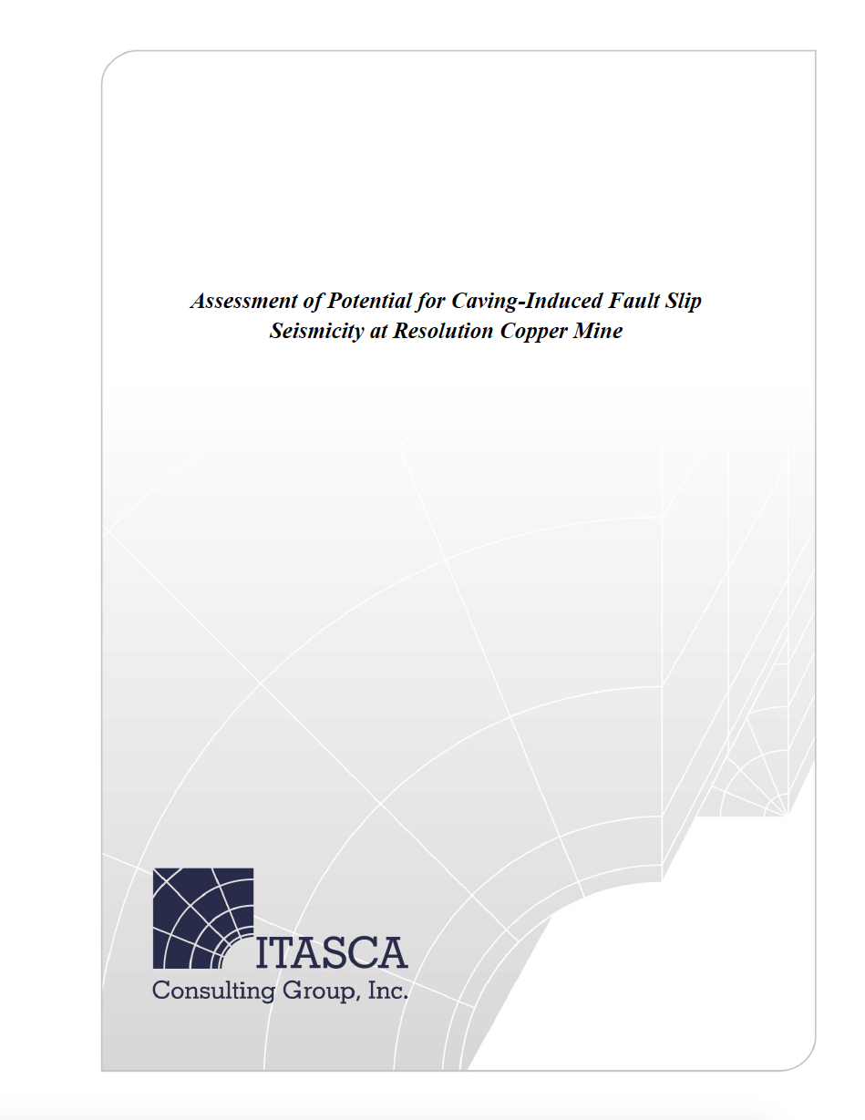 Thumbnail image of document cover: Empirical Analysis of Surface Subsidence Associated with Caving, Resolution Copper Mine Plan of Operations
