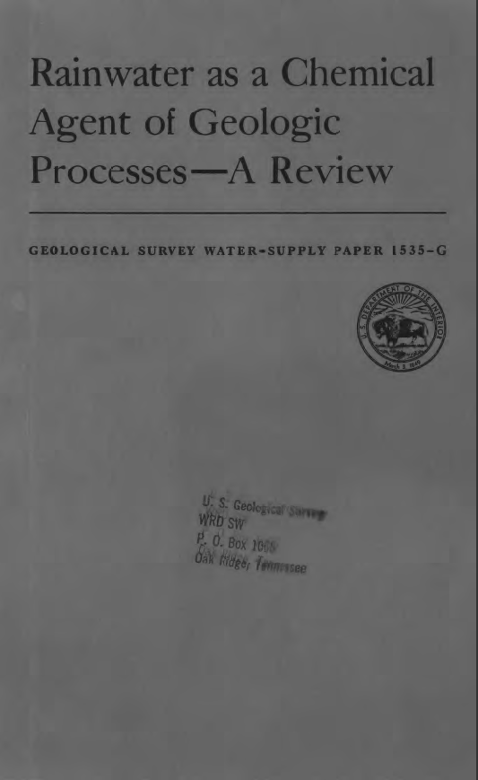Thumbnail image of document cover: Rainwater as a Chemical  Agent of Geologic Processes - A Review