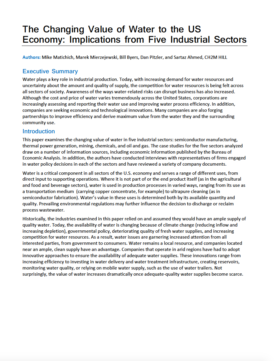 Thumbnail image of document cover: The Changing Value of Water to the US Economy: Implications from Five Industrial Sectors