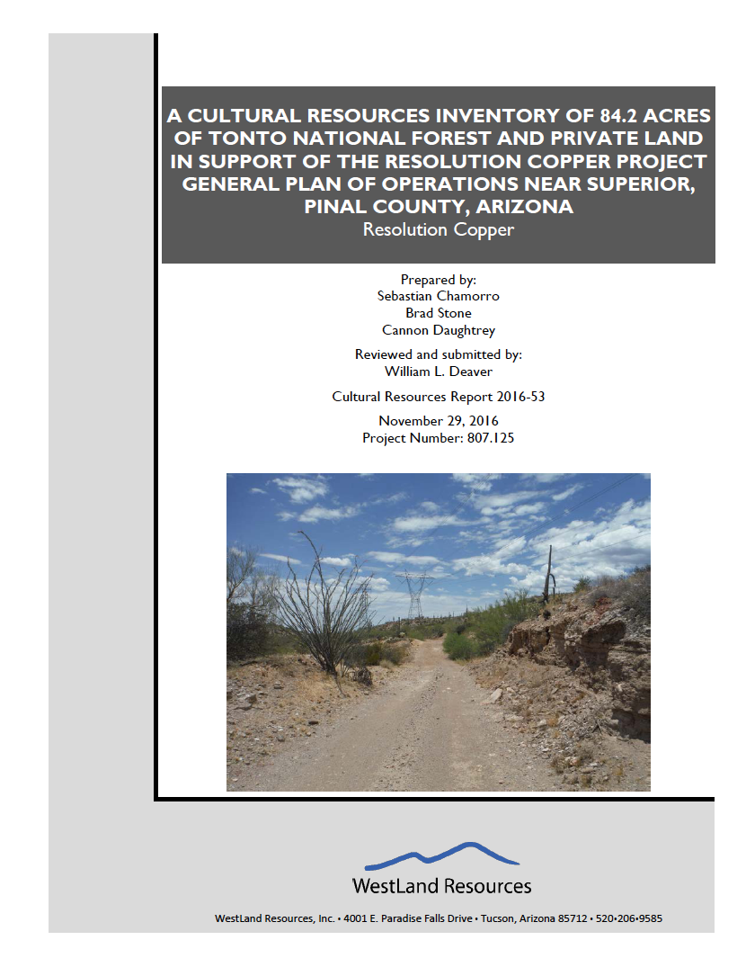 Thumbnail image of document cover: A Cultural Resources Inventory of 84.2 Acres of Tonto National Forest and Private Land in Support of the Resolution Copper Project General Plan of Operations Near Superior, Pinal County, Arizona