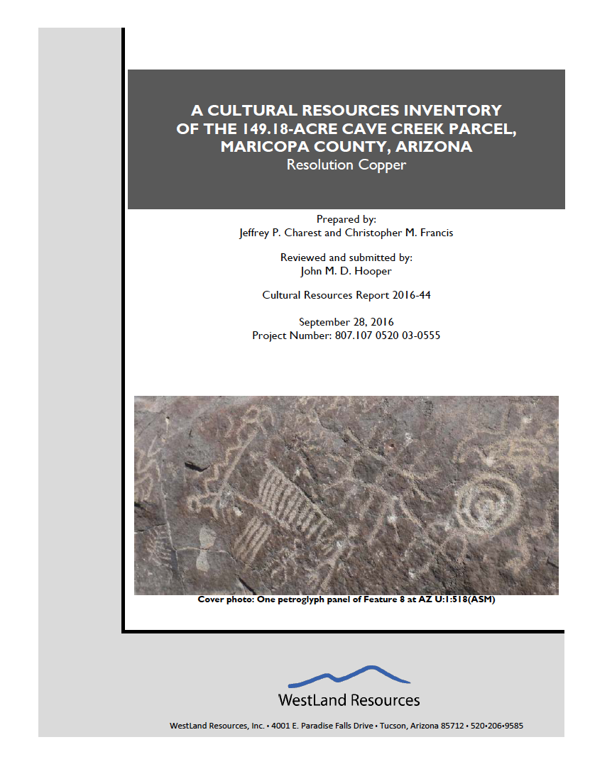 Thumbnail image of document cover: A Cultural Resources Inventory of the 149.18-Acre Cave Creek Parcel, Maricopa County, Arizona