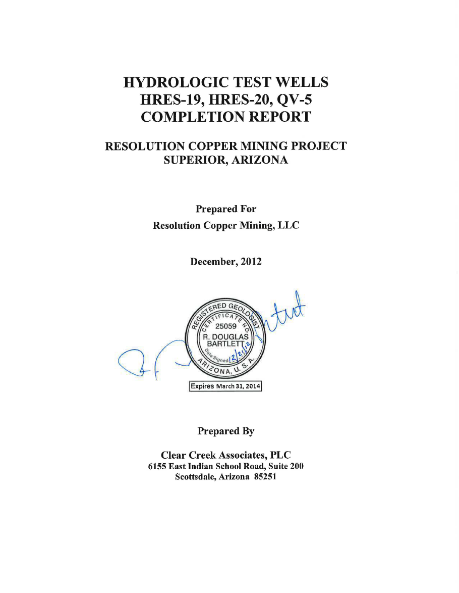 Thumbnail image of document cover: Hydrologic Test Wells HRES-19, HRES-20, QV-5 Completion Report