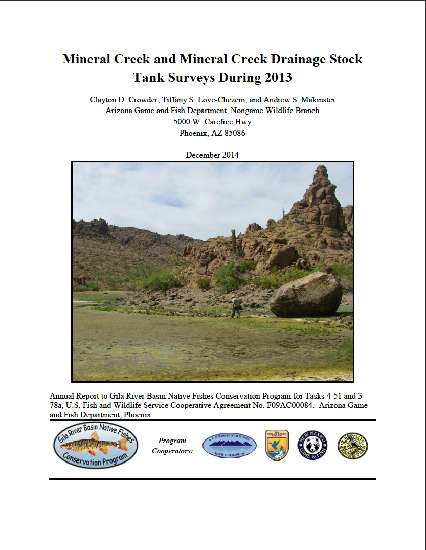 Thumbnail image of document cover: Mineral Creek and Mineral Creek Drainage Stock Tank Surveys During 2013