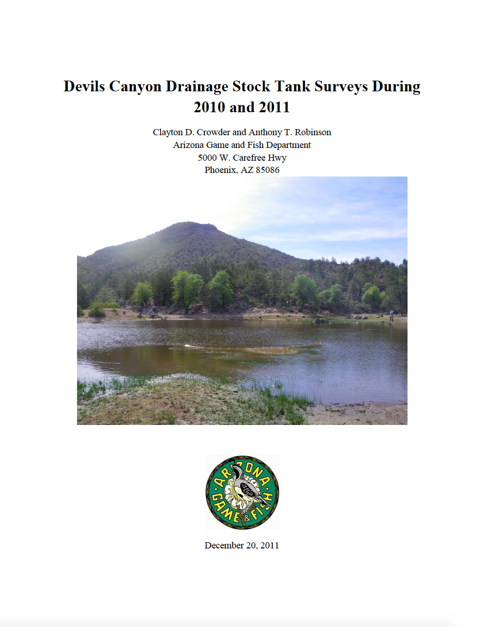Thumbnail image of document cover: Devils Canyon Drainage Stock Tank Surveys During 2010 and 2011