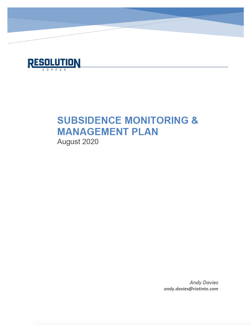 Thumbnail image of document cover: Subsidence Monitoring and Management Plan - August