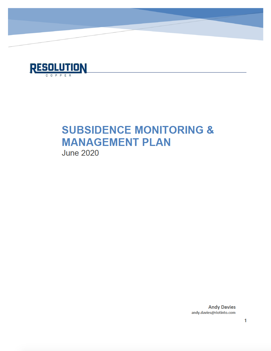 Thumbnail image of document cover: Subsidence Monitoring and Management Plan - June
