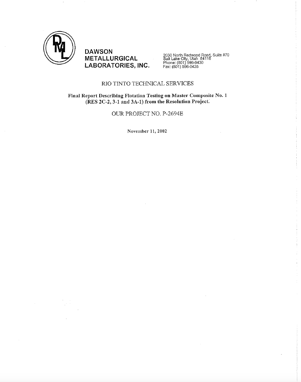 Thumbnail image of document cover: Final Report Describing Flotation Testing on Master Cumpusile No. 1 (RES 2C-2, 3-1 and 3A-1) from the Resolution Project