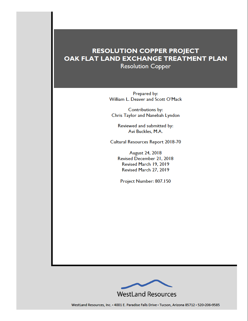 Thumbnail image of document cover: Resolution Copper Project Oak Flat Land Exchange Treatment Plan
