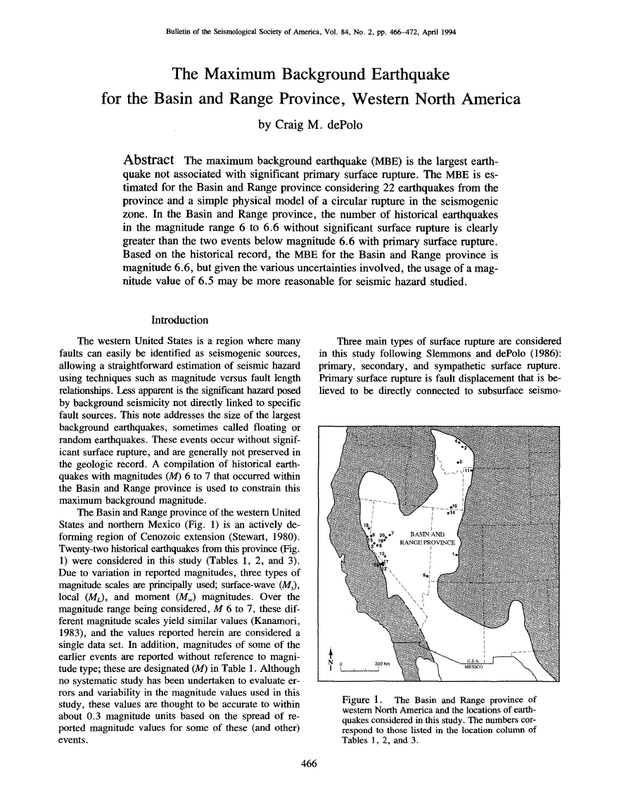 Thumbnail image of document cover: The Maximum Background Earthquake for the Basin and Range Province, Western North America