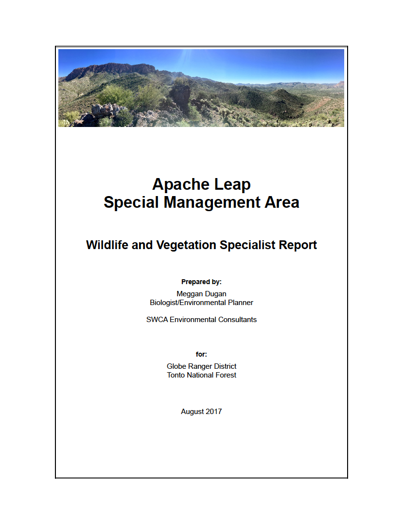 Thumbnail image of document cover: Apache Leap Special Management Area: Wildlife and Vegetation Specialist Report