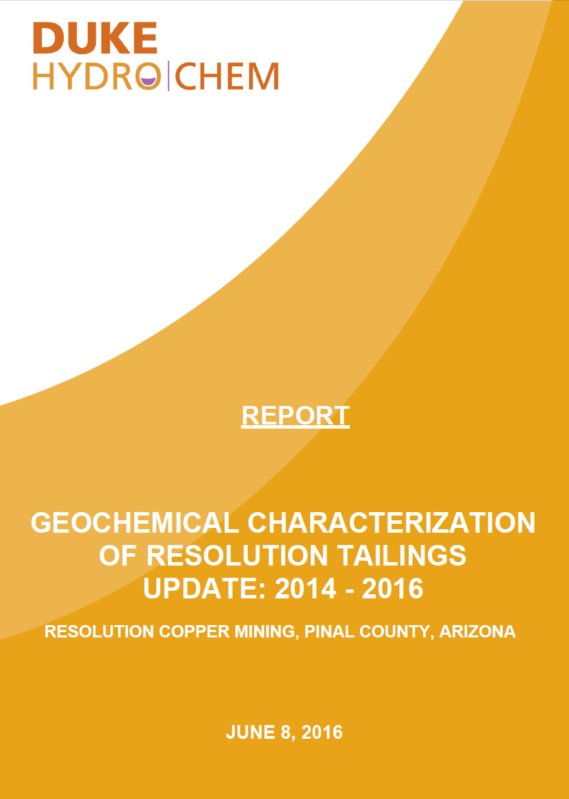 Thumbnail image of document cover: Geochemical Characterization of Resolution Tailings Update: 2014-2016