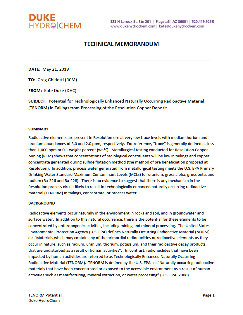 Thumbnail image of document cover: Potential for Technologically Enhanced Naturally Occurring Radioactive Material (TENORM) in Tailings from Processing of the Resolution Copper Deposit