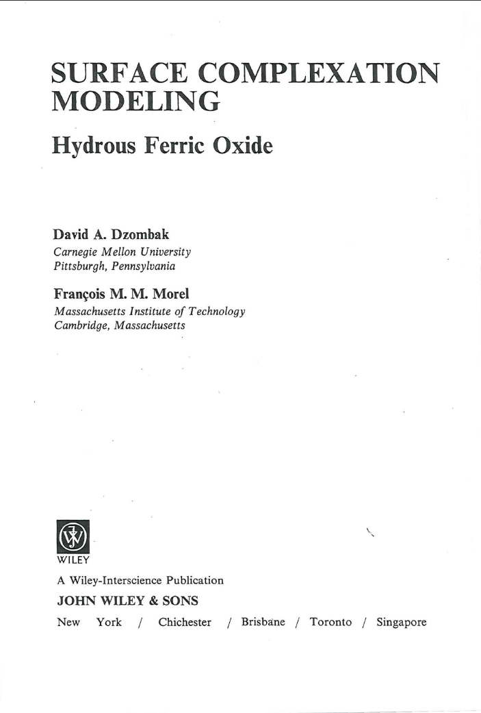 Thumbnail image of document cover: Surface Complexation Modeling – Hydrous Ferric Oxide