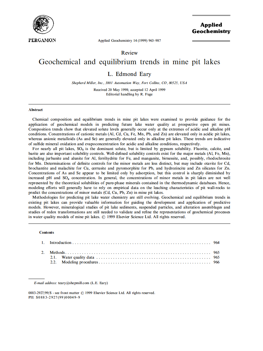 Thumbnail image of document cover: Geochemical and Equilibrium Trends in Existing Mine Pit Lakes