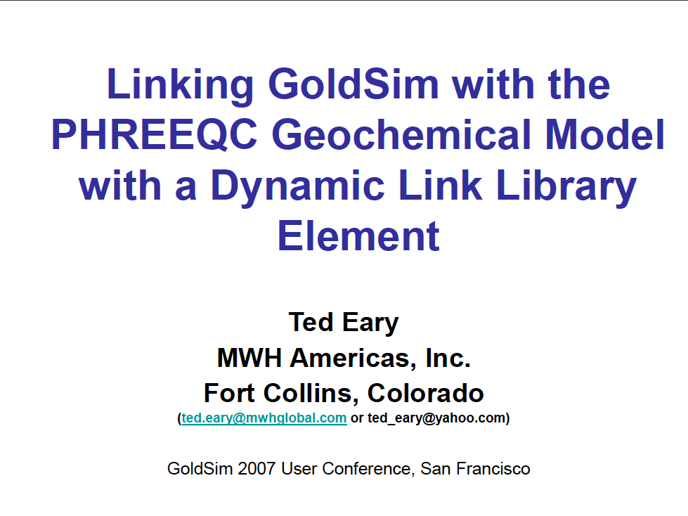 Thumbnail image of document cover: Linking GoldSim with the PHREEQC Geochemical Model with a Dynamic Link Library