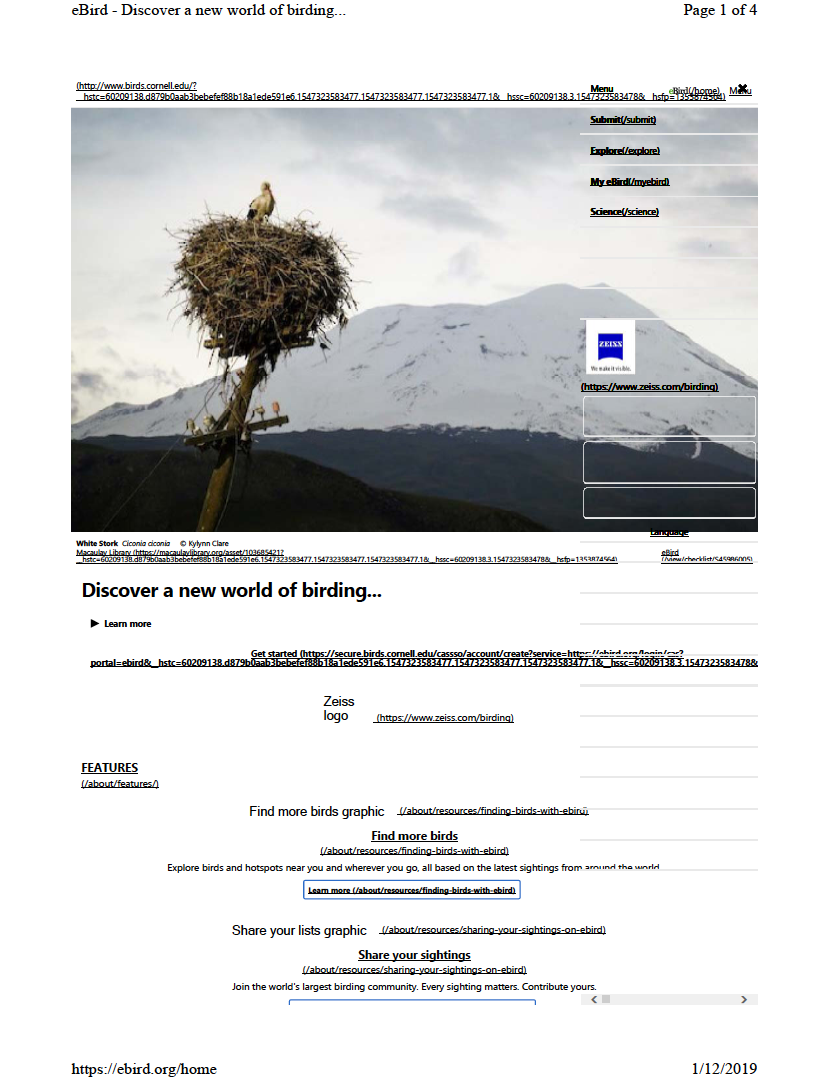 Thumbnail image of document cover: eBird - Discover a new world of birding