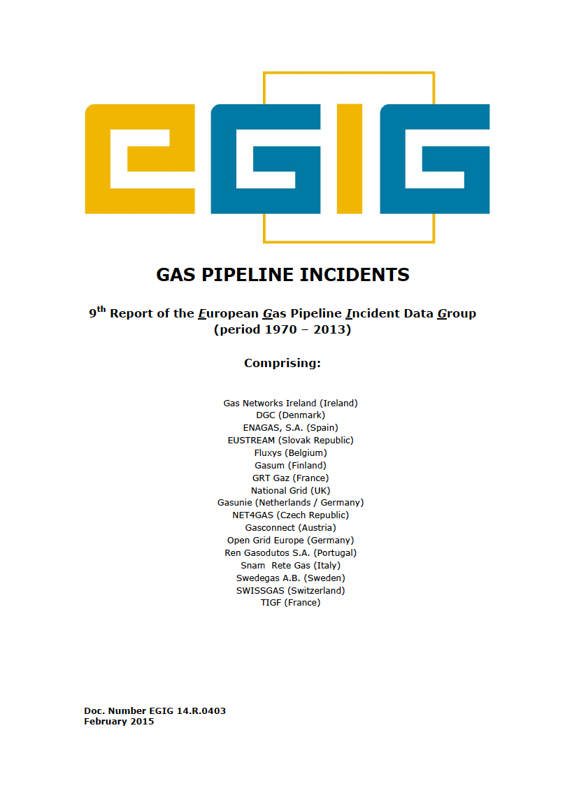 Thumbnail image of document cover: Gas Pipeline Incidents: 9th Report of the European Gas Pipeline Incident Data Group (period 1970 - 2013)