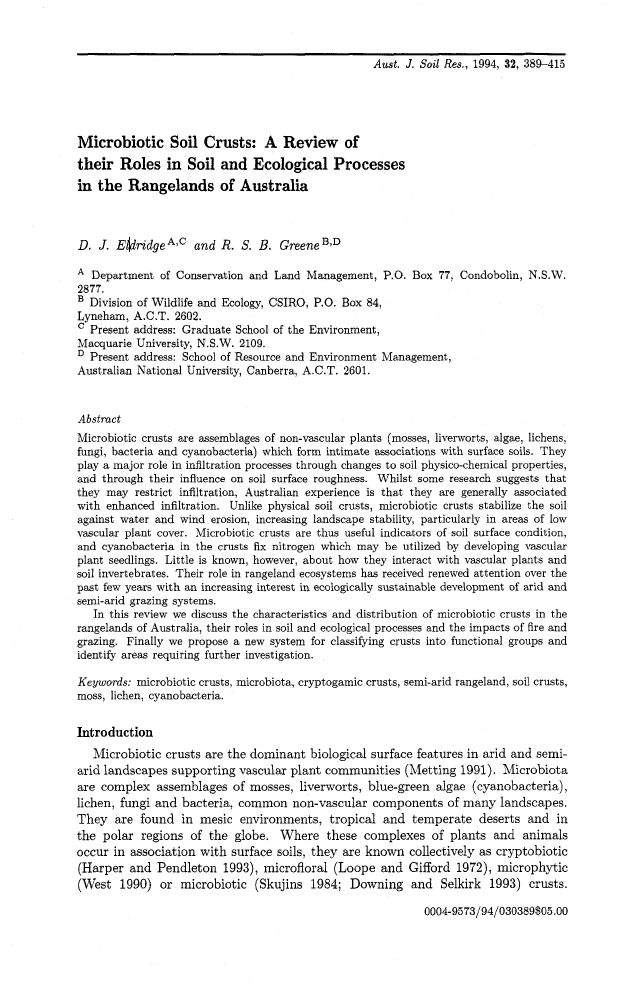 Thumbnail image of document cover: Microbiotic Soil Crusts: A Review of their Roles in Soil and Ecological Processes in the Rangelands of Australia
