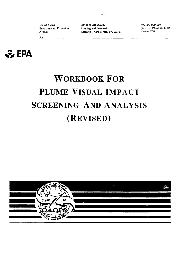 Thumbnail image of document cover: Workbook for Plume Visual Impact Screening and Analysis (Revised)
