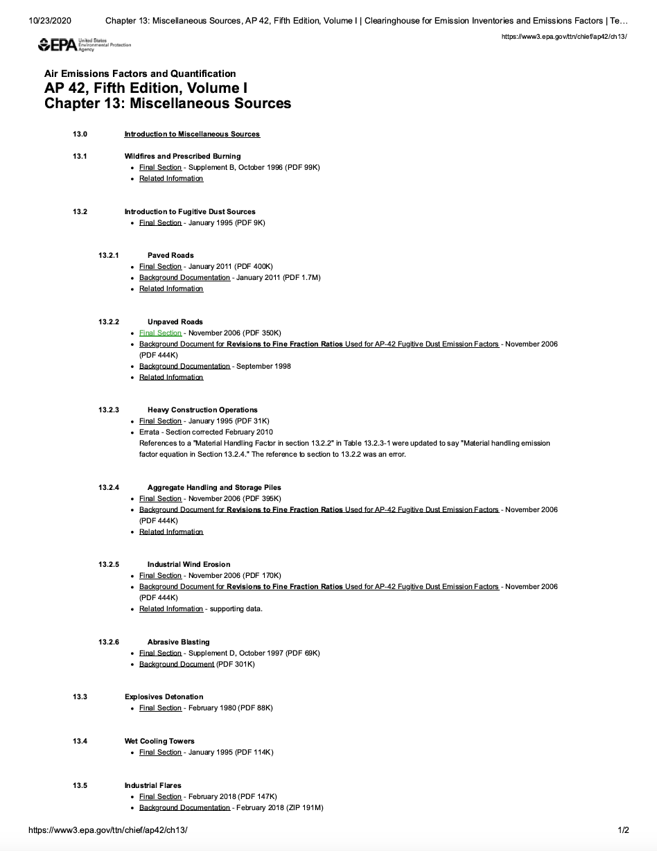 Thumbnail image of document cover: AP 42, Fifth Edition, Volume I, Chapter 13: Miscellaneous Sources