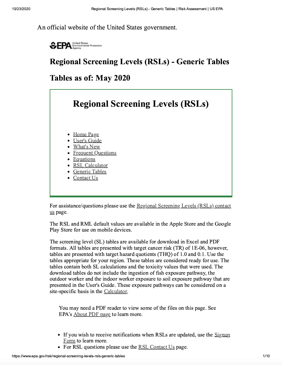 Thumbnail image of document cover: Regional Screening Levels for Chemical Contaminants at Superfund Sites