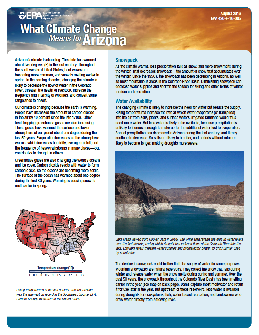 Thumbnail image of document cover: What Climate Change Means for Arizona