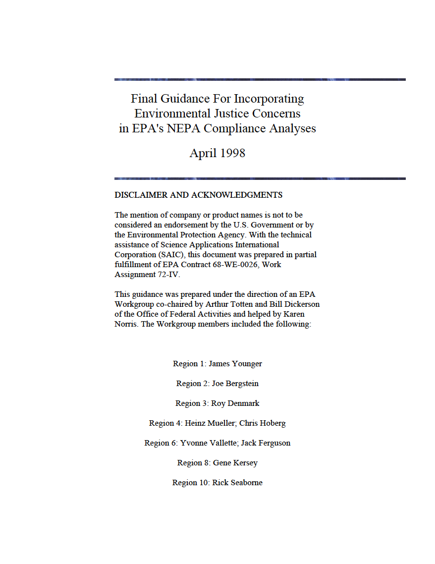 Thumbnail image of document cover: Final Guidance for Incorporating Environmental Justice Concerns in EPA's NEPA Compliance Analyses