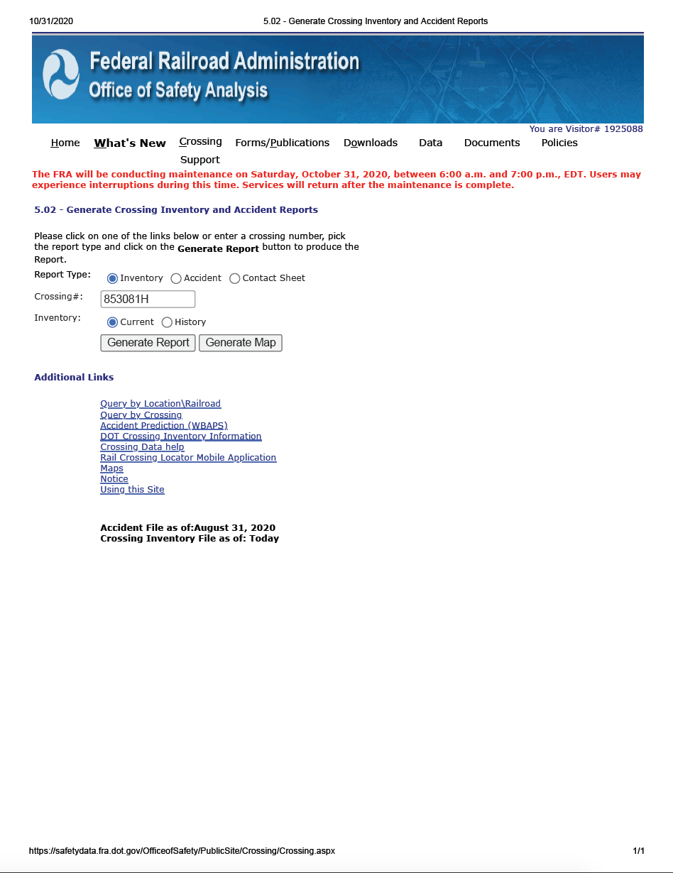 Thumbnail image of document cover: Generate Crossing Inventory and Accident Reports: Crossing 853081H