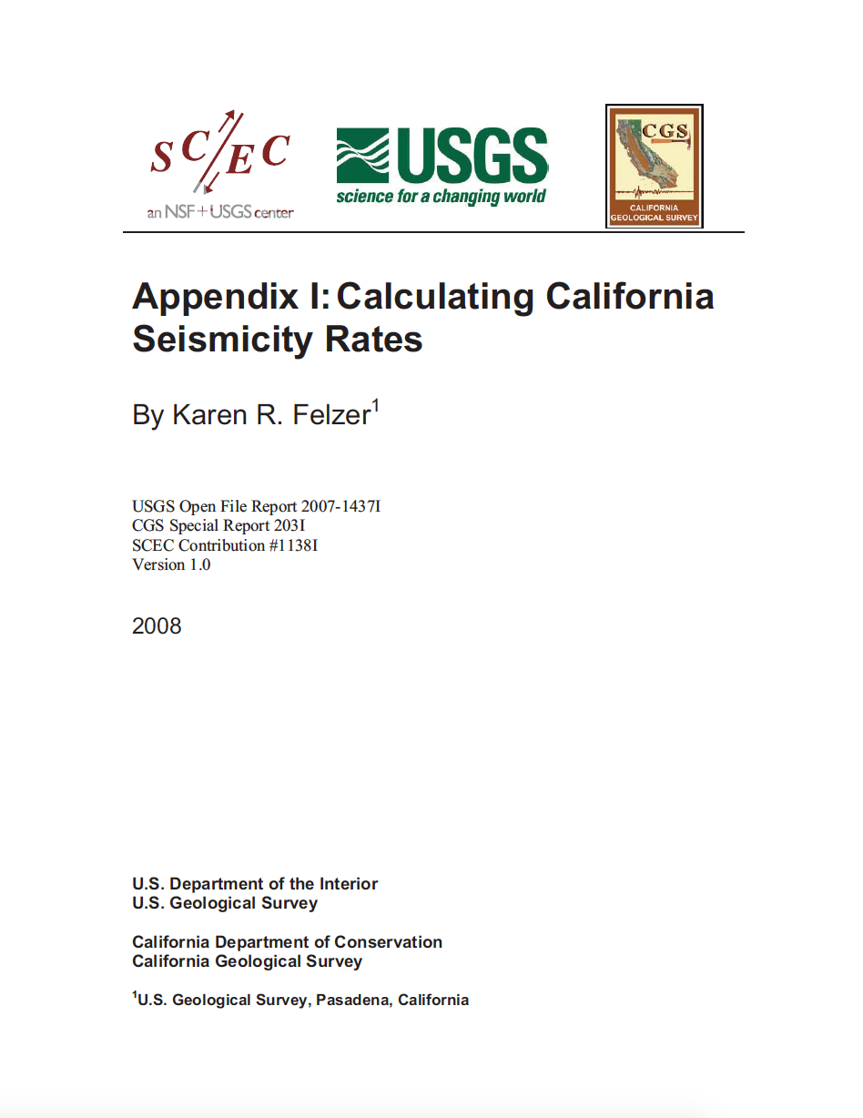 Thumbnail image of document cover: Appendix I: Calculating California Seismicity Rates