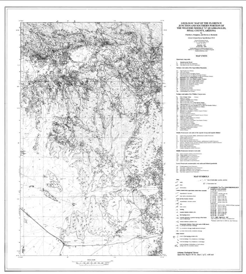 Thumbnail image of document cover: Geologic Map of the Florence Junction and Southern Portion of the Weavers Needle 7.5' Quadrangles, Pinal County, Arizona