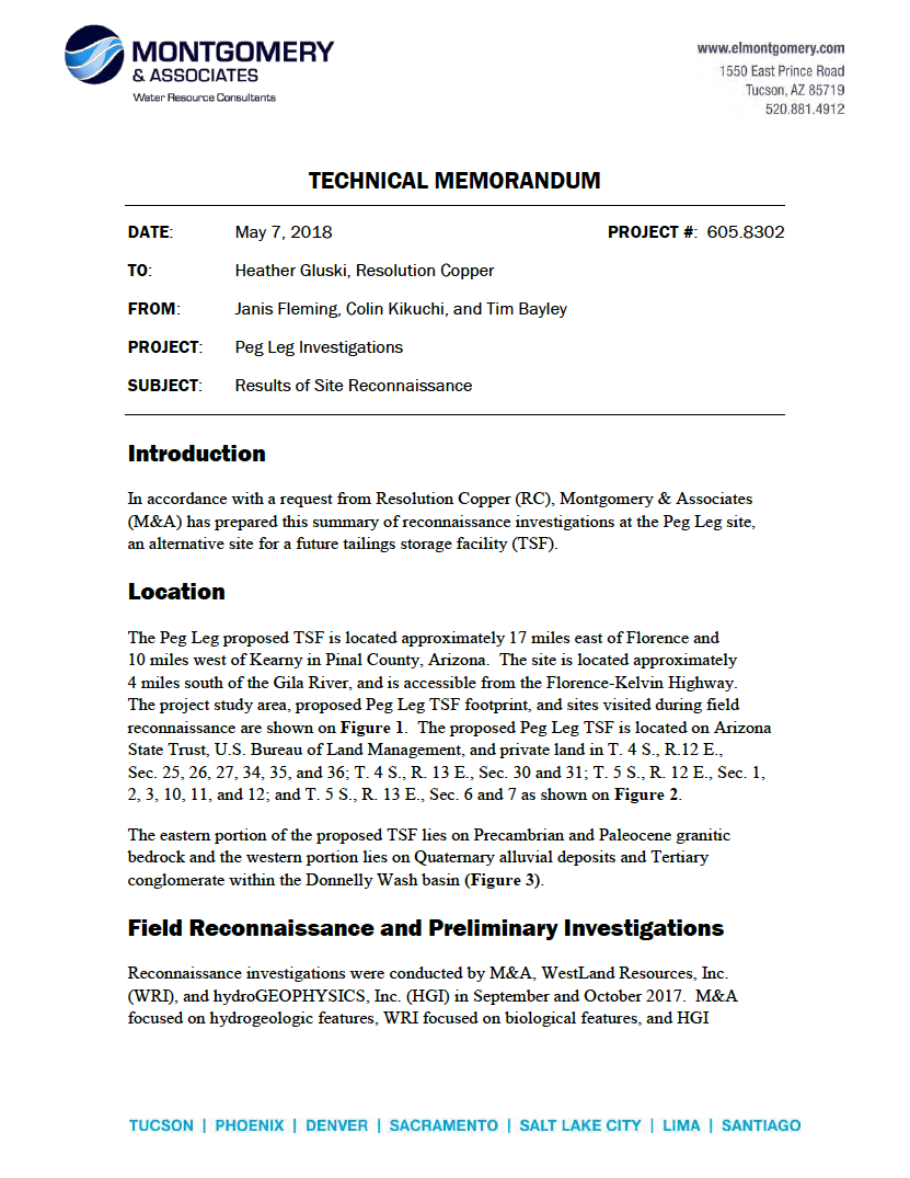 Thumbnail image of document cover: Peg Leg Investigations: Results of Reconnaissance