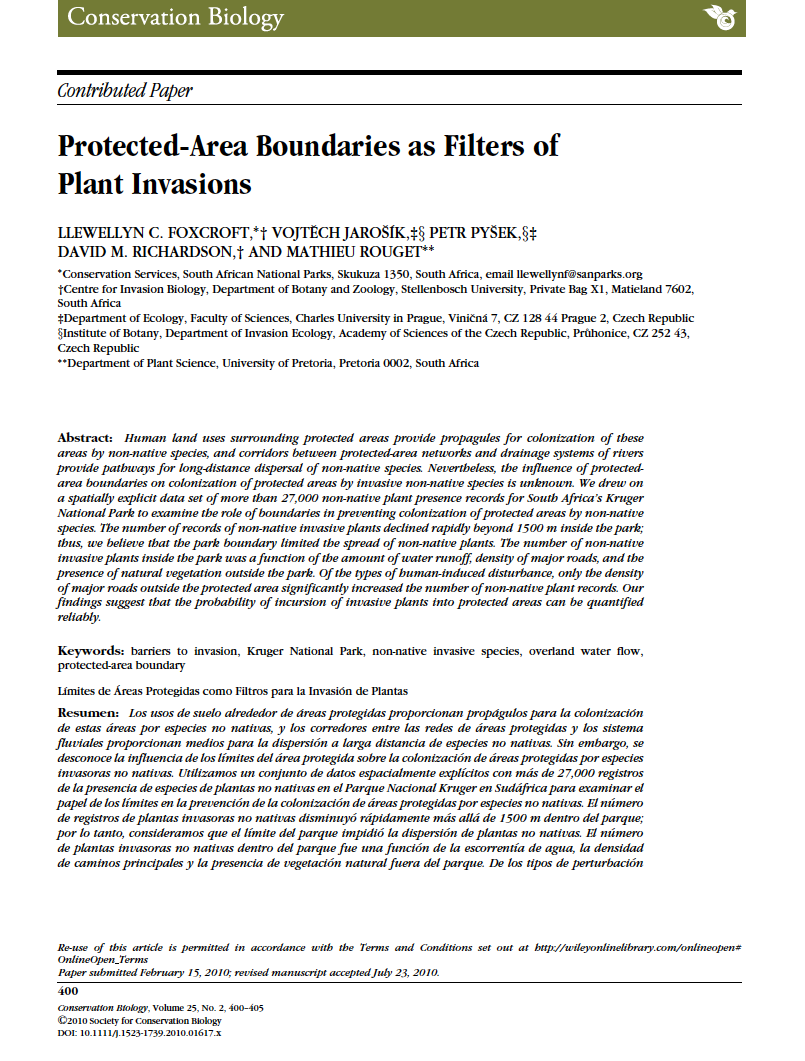 Thumbnail image of document cover: Protected-Area Boundaries as Filters of Plant Invasions