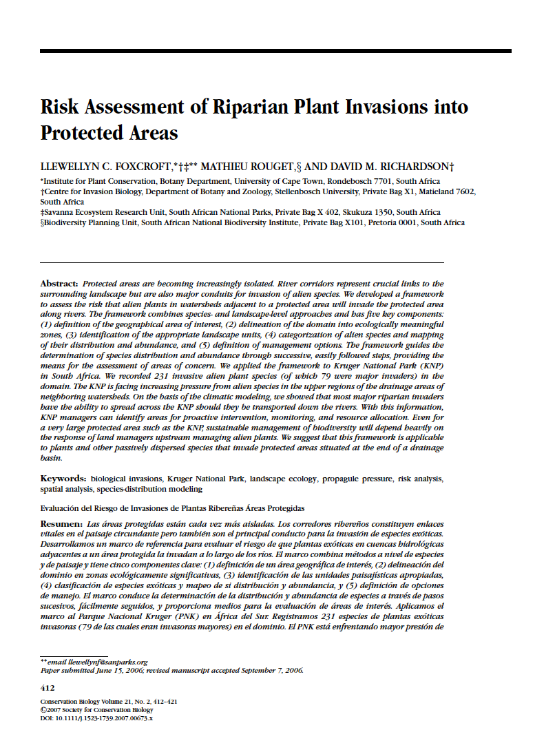 Thumbnail image of document cover: Risk Assessment of Riparian Plant Invasions into Protected Areas