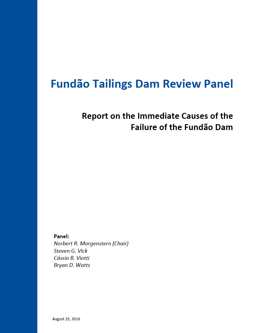 Thumbnail image of document cover: Report on the Immediate Causes of the Failure of the Fundão Dam
