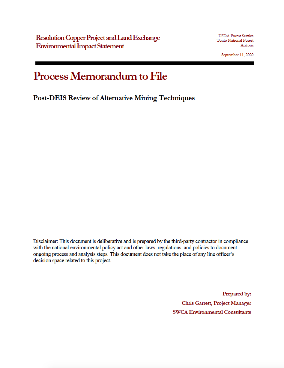 Thumbnail image of document cover: Post-DEIS Review of Alternative Mining Techniques