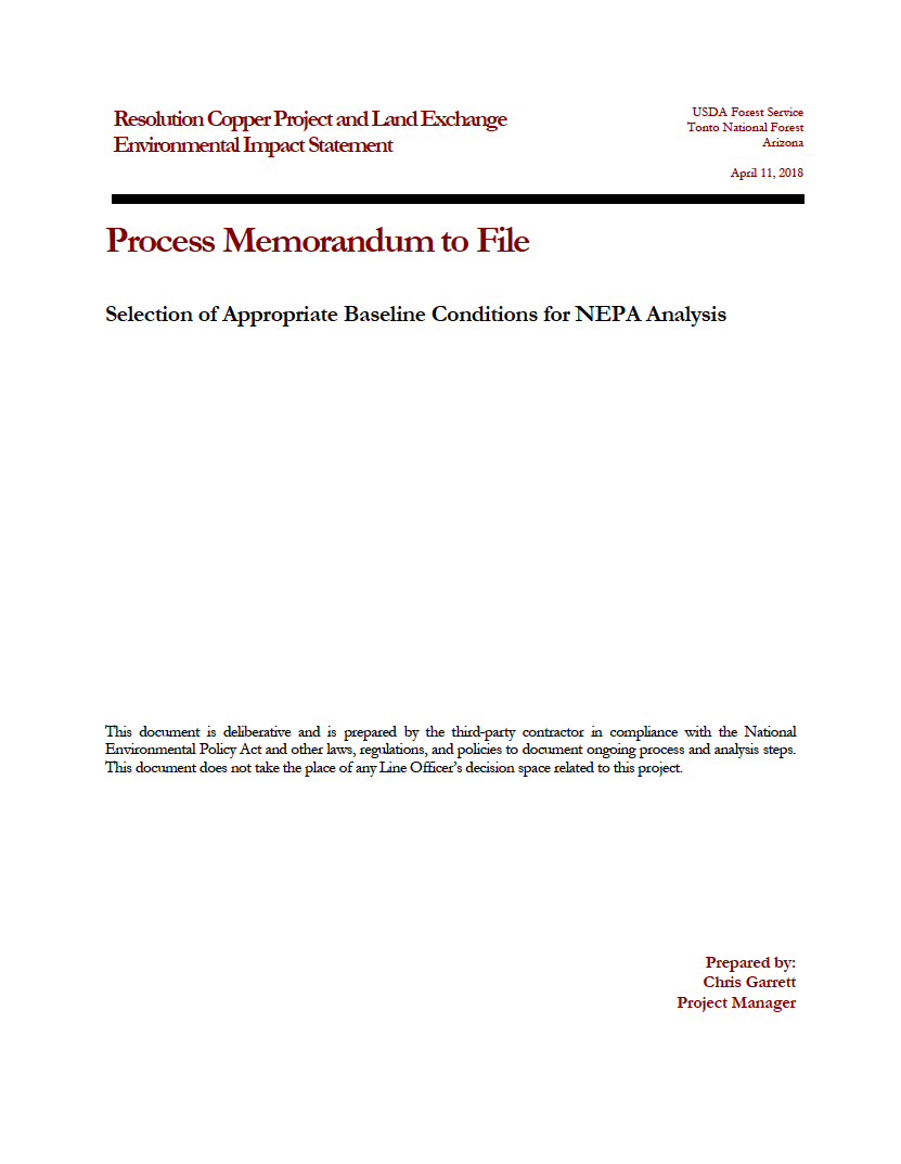 Thumbnail image of document cover: Selection of Appropriate Baseline Conditions for NEPA Analysis