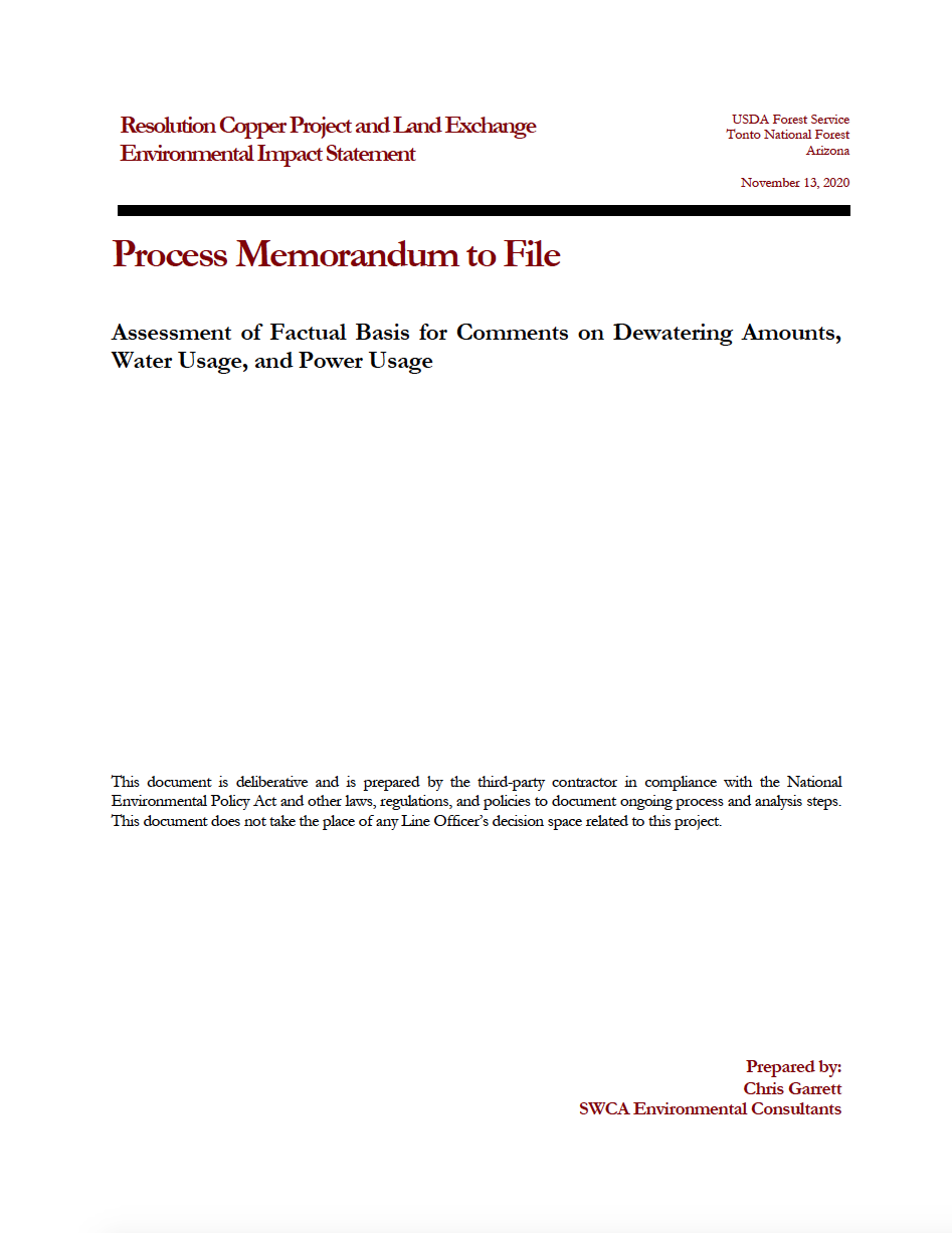 Thumbnail image of document cover: Assessment of Factual Basis for Comments on Dewatering Amounts, Water Usage, and Power Usage